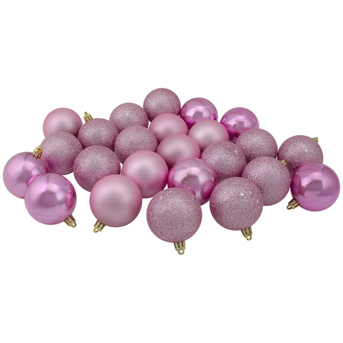 "60ct Bubblegum Pink Shatterproof 4-Finish Christmas Ball Ornaments 2.5"" (60mm) - IMAGE 1"