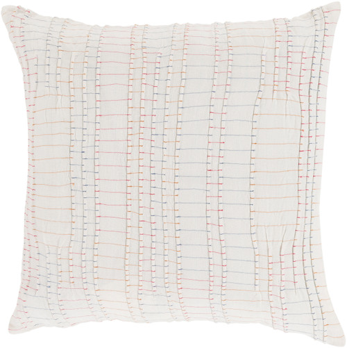 """22"""" Striped White and Orange Square Throw Pillow - Down Filler - IMAGE 1"""