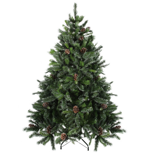 6.5' Full Snowy Delta Pine with Pine Cones Artificial Christmas Tree - Unlit - IMAGE 1