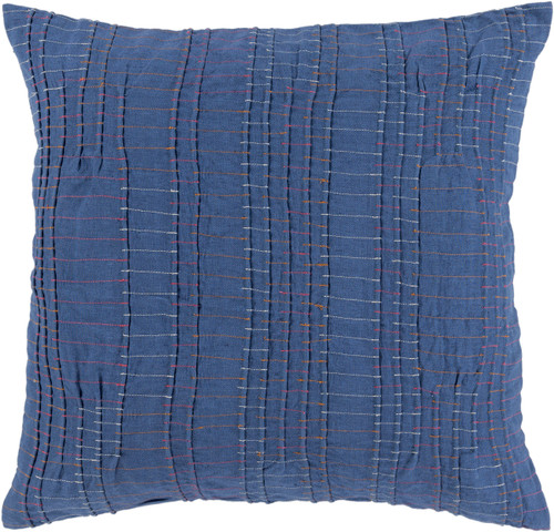"""20"""" Stitched In Color Cobalt Blue and Ivory White Decorative Throw - IMAGE 1"""