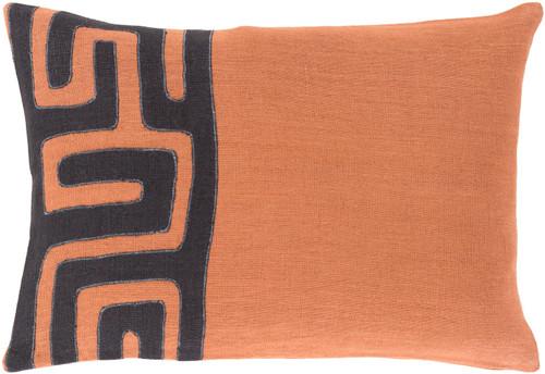 "19"" Black and Burnt Orange Contemporary Throw Pillow - IMAGE 1"