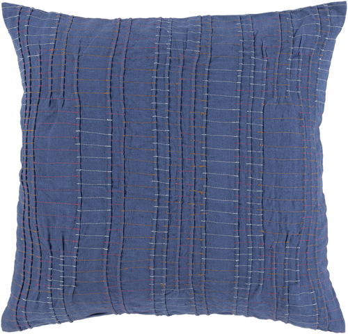 """22"""" Blue and White Square Throw Pillow - Poly Filled - IMAGE 1"""