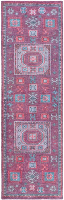 2.5' x 8' Persian Blue and Purple Hand Knotted Rectangular Wool Area Throw Rug Runner - IMAGE 1