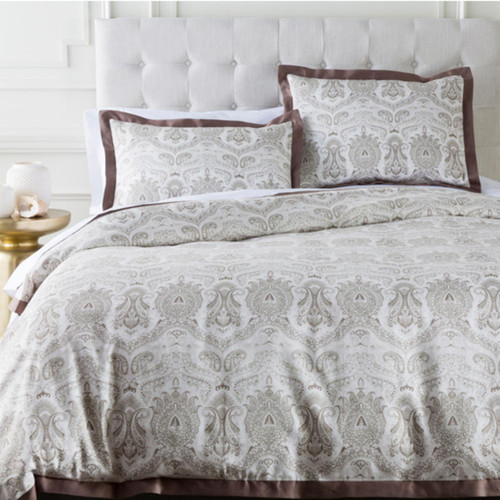 Brown and Grayish White Damask Cotton Twin Duvet Cover - IMAGE 1