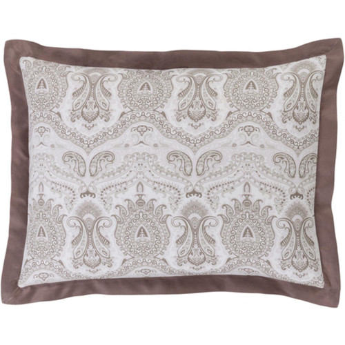 Brown and Grayish White Damask Cotton Standard Sham - IMAGE 1