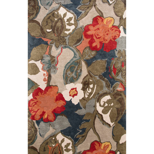 3.5' x 5.5'  Navy Blue, Olive, and Red Modern Petal Pusher Hand Tufted Wool and Art Silk Area Throw Rug - IMAGE 1