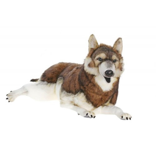 """39.25"""" Brown and White Handcrafted Soft Plush Laying Timber Wolf Stuffed Animal - IMAGE 1"""