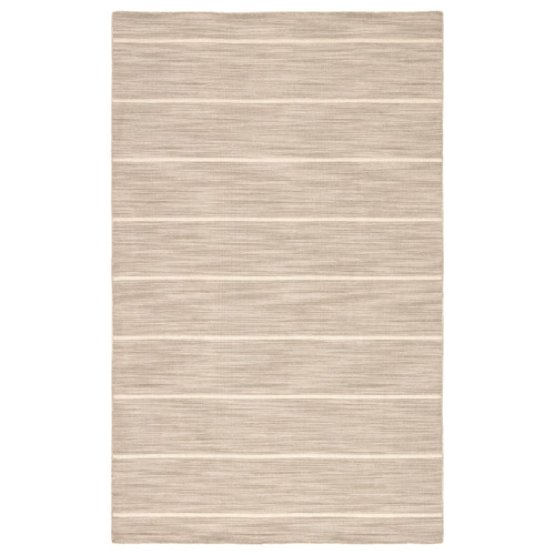 5' x 8' Brown and Snow White Handcrafted Rectangular Wool Area Throw Rug - IMAGE 1