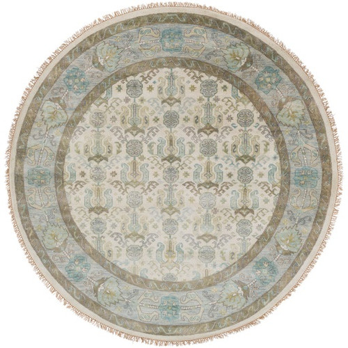 8' Snow White and Mocha Brown Round Hand Knotted Wool Area Throw Rug - IMAGE 1