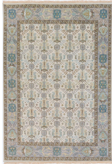 8' x 11' Snow White and Mocha Brown Rectangular Hand Knotted Wool Area Throw Rug - IMAGE 1