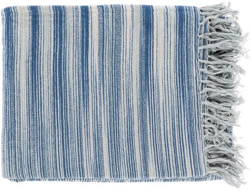"Blue and White Fringed Rectangular Throw Blanket 50"" x 60"" - IMAGE 1"