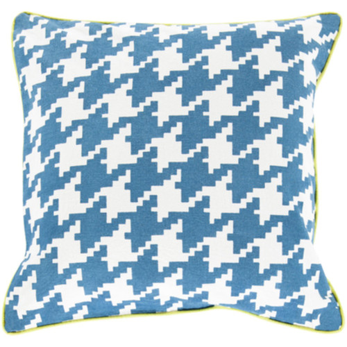 """20"""" Blue and White Houndstooth Pattern Throw Pillow Cover - IMAGE 1"""
