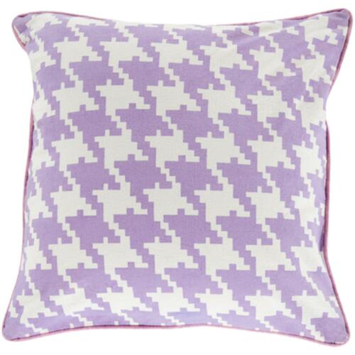 "18"" Purple and White Houndstooth Pattern Square Throw Pillow Cover - IMAGE 1"