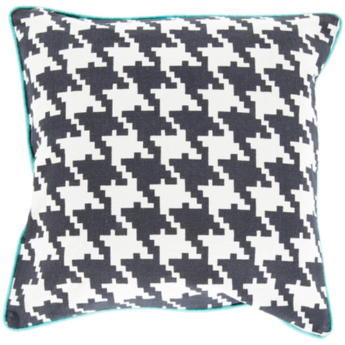 """22"""" Black and White Houndstooth Pattern Throw Pillow Cover - IMAGE 1"""
