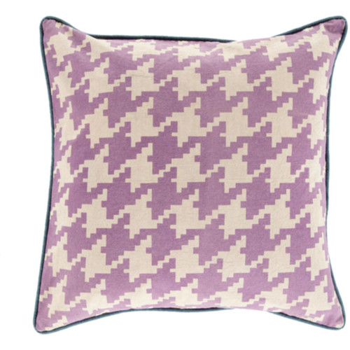 "20"" White and Purple Houndstooth Pattern Throw Pillow Cover - IMAGE 1"