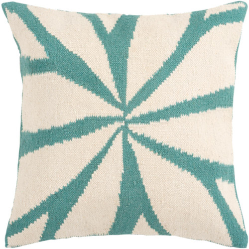 """22"""" Turquoise and Antique White Asterid Decorative Throw Pillow Cover - IMAGE 1"""