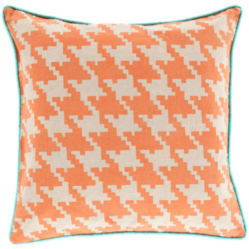 """22"""" Orange and White Houndstooth Pattern Throw Pillow Cover - IMAGE 1"""