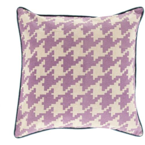 "22"" Purple and Blue Houndstooth Pattern Throw Pillow Cover - IMAGE 1"