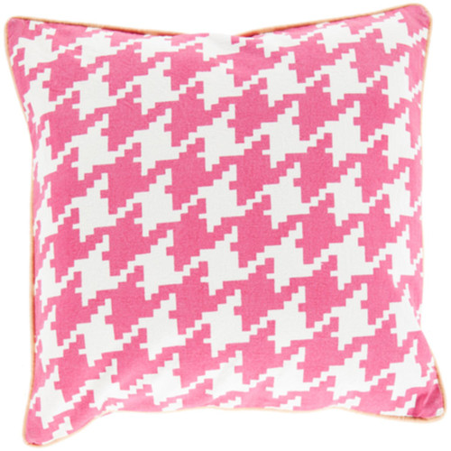 "22"" Pink and White Houndstooth Pattern Throw Pillow Cover - IMAGE 1"