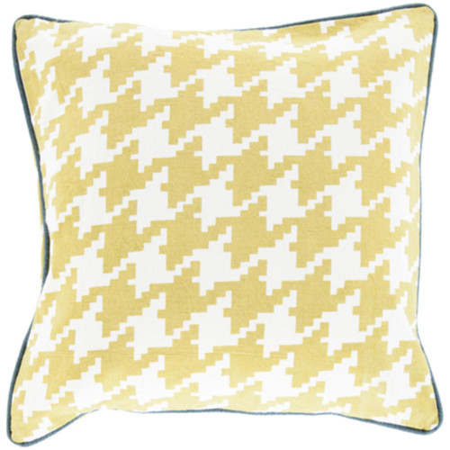 """20"""" Green and Yellow Houndstooth Pattern Throw Pillow Cover - IMAGE 1"""