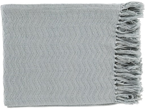 "Mist Gray Chevron Woven Cotton Fringed Decorative Throw Blanket 50"" x 60"" - IMAGE 1"