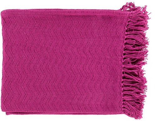 """Berry Pink Woven Chevron Cotton Fringed Decorative Throw Blanket 50"""" x 60"""" - IMAGE 1"""