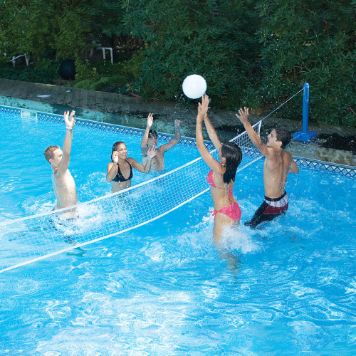 "144"" White Cross Volleyball Swimming Pool Game with Weighted Net Supports - IMAGE 1"