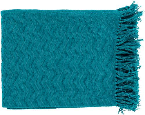 "Ocean Blue Woven Chevron Cotton Fringed Decorative Throw Blanket 50"" x 60"" - IMAGE 1"