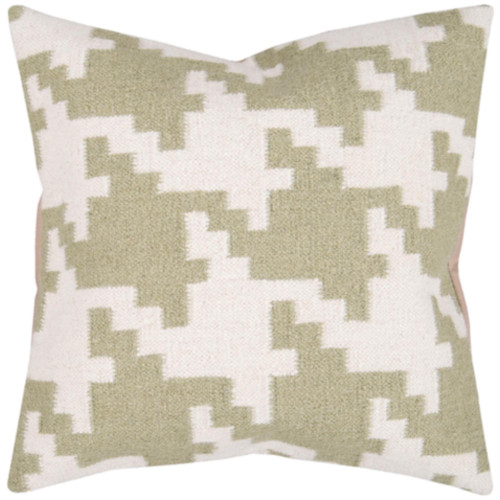 """20"""" Green and White Square Contemporary Throw Pillow Cover - IMAGE 1"""