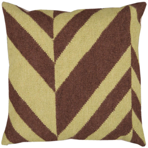 """22"""" Coffee Brown and Ivory Contemporary Square Throw Pillow Cover - IMAGE 1"""
