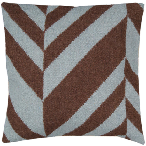 """22"""" Brown and White Chevron Square Striped Throw Pillow Cover - IMAGE 1"""