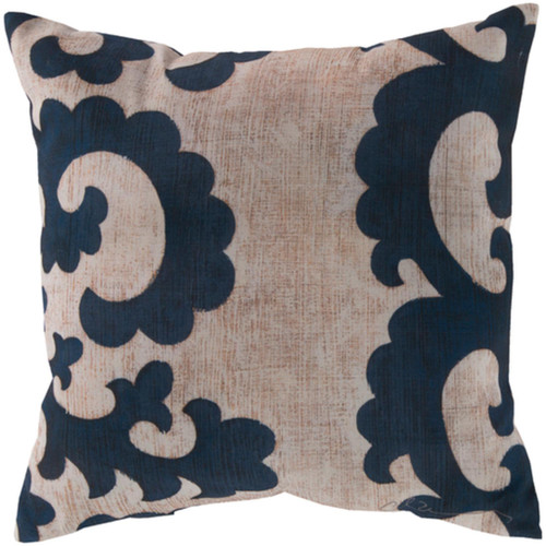 """20"""" Gray and Blue Floral Square Throw Pillow Cover - IMAGE 1"""