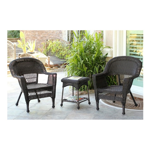 """Set of 3 Espresso Brown Resin Wicker Patio Chairs and End Table Furniture 36"""" - IMAGE 1"""