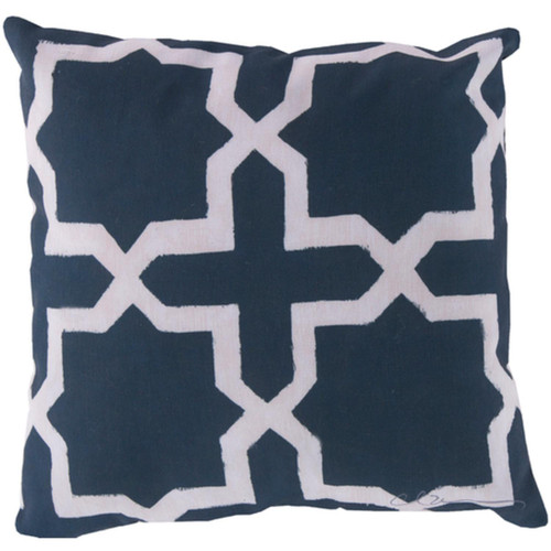 "18"" White and Blue Stars and Cross Geometric Decorative Throw Pillow Cover - IMAGE 1"