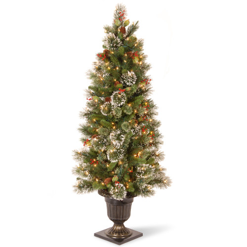 """5"""" Pre-Lit Potted Wintry Pine Artificial Entrance Tree - Clear Lights - IMAGE 1"""