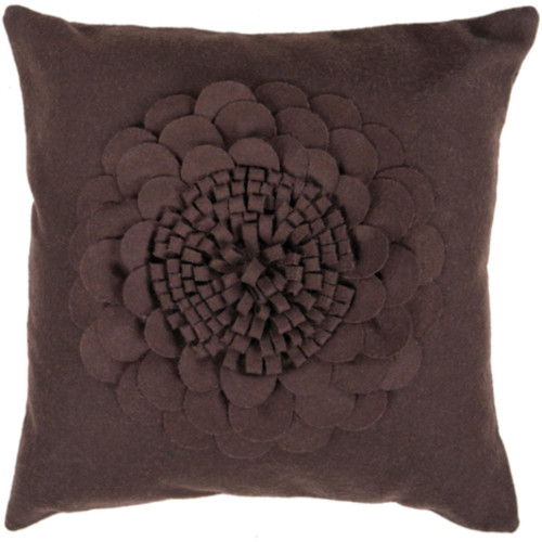 """18"""" Floral Espresso Brown Square Throw Pillow Cover - IMAGE 1"""