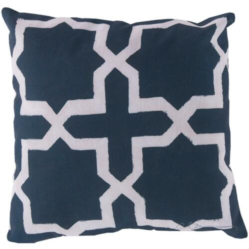 """20"""" White and Blue Stars and Cross Geometric Decorative Throw Pillow Cover - IMAGE 1"""