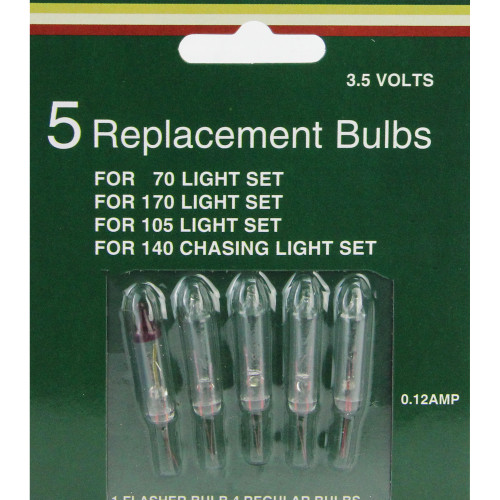 Set of 5 Mini Christmas Replacement Bulbs - Clear - IMAGE 1