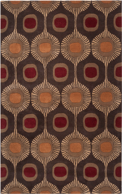 10' x 14' Brown and Yellow Contemporary Rectangular Wool Area Throw Rug - IMAGE 1