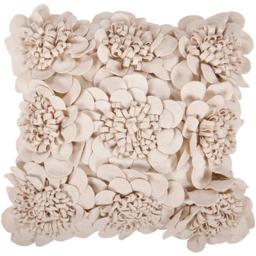 "22"" Beige Applique Floral Square Throw Pillow Cover - IMAGE 1"