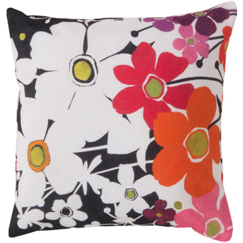 "20"" Pink and White Floral Outdoor Patio Square Throw Pillow Cover - IMAGE 1"
