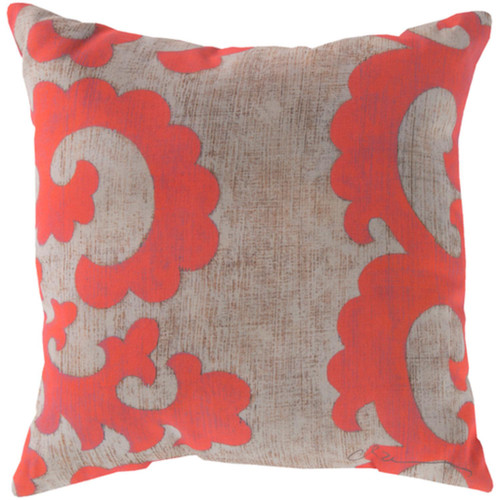 "20"" Salmon Pink and Gray Floral Throw Pillow Cover - IMAGE 1"