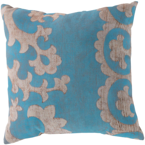 """20"""" Aqua Blue and Ivory Floral Square Throw Pillow Cover - IMAGE 1"""