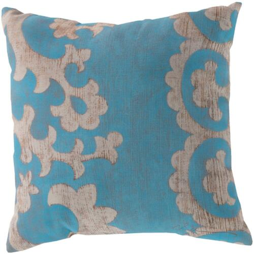 """18"""" Aqua Blue and Ivory Floral Square Throw Pillow Cover - IMAGE 1"""