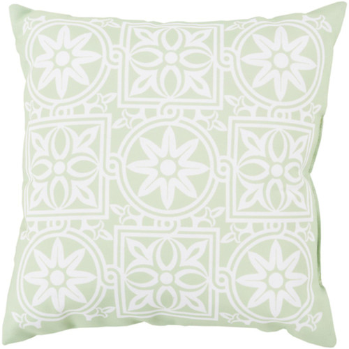"""18"""" Mint Green and Ivory Contemporary Square Outdoor Throw Pillow Cover - IMAGE 1"""