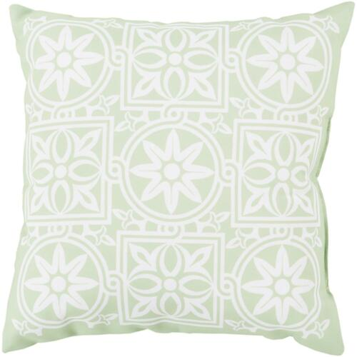 "20"" Mint Green and Ivory Contemporary Square Outdoor Throw Pillow Cover - IMAGE 1"