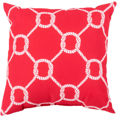 """20"""" Tomato Red and White Roped Contemporary Square Throw Pillow Shell - IMAGE 1"""