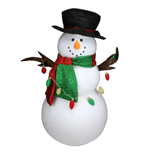 5' White Inflatable LED Lighted Musical Snowman Outdoor Christmas Yard Decor - IMAGE 1