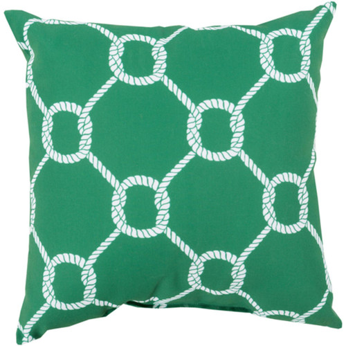 """20"""" Leaf Green and White Roped Contemporary Square Throw Pillow Cover - IMAGE 1"""