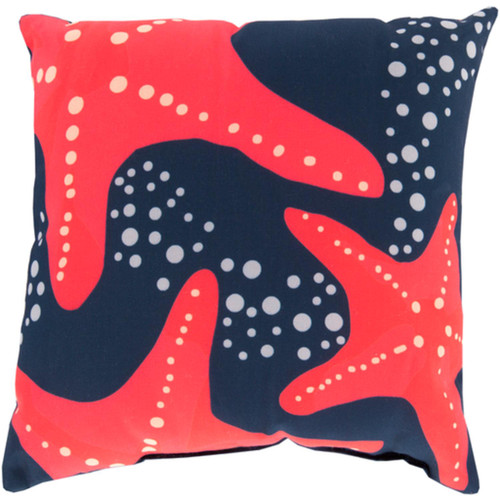 "20"" Navy Blue and Orange Starfish Contemporary Square Throw Pillow Cover - IMAGE 1"